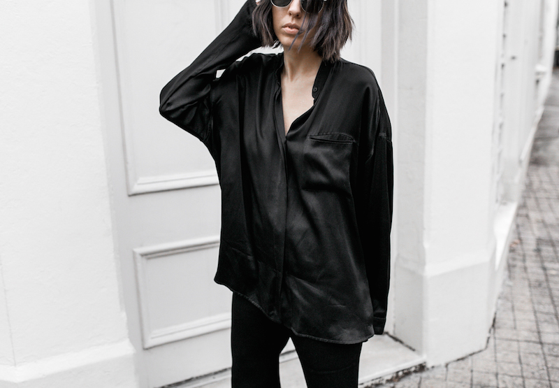 pyjama trend silk separates Ellery flares Haider Ackermann Givenchy Antigona Medium minimal all black ootd street style inspo fashion blogger modern legacy (6 of 8)