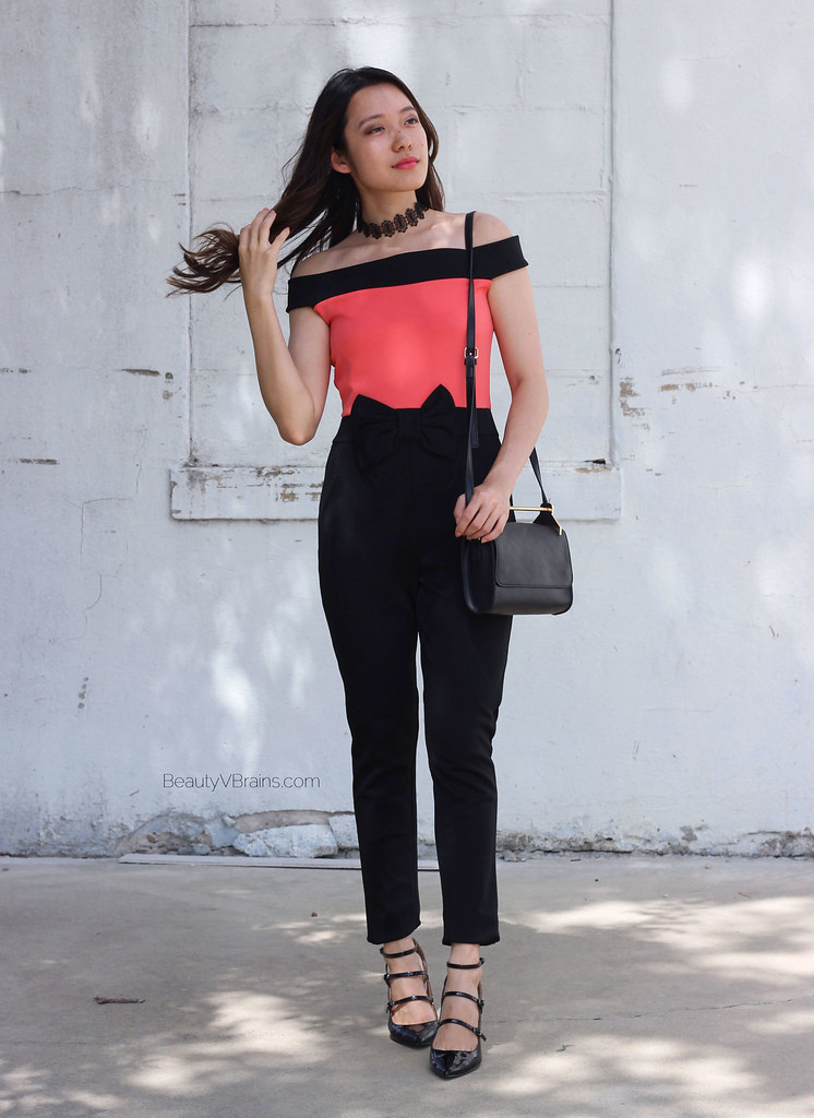 Coral black strapless bow waist jumpsuit