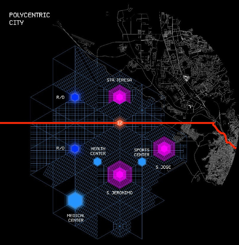Мегаполис будущего Border City на границе США и Мексики