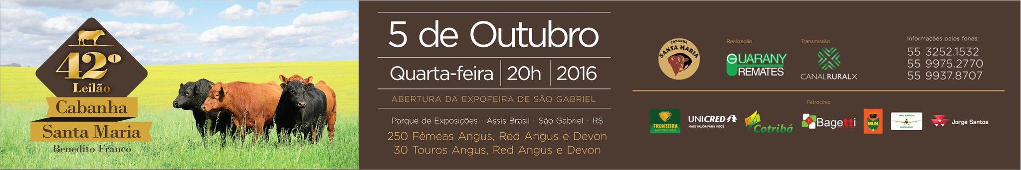 Anúncio 42º Leilão Cabanha Santa Maria 2016