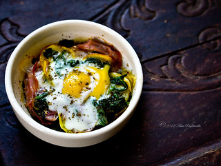 Baked eggs - ham, yellow beets, spinach | by Asha Yoganandan