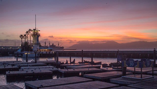 Beautiful sunset over Pier 39 in San Francisco