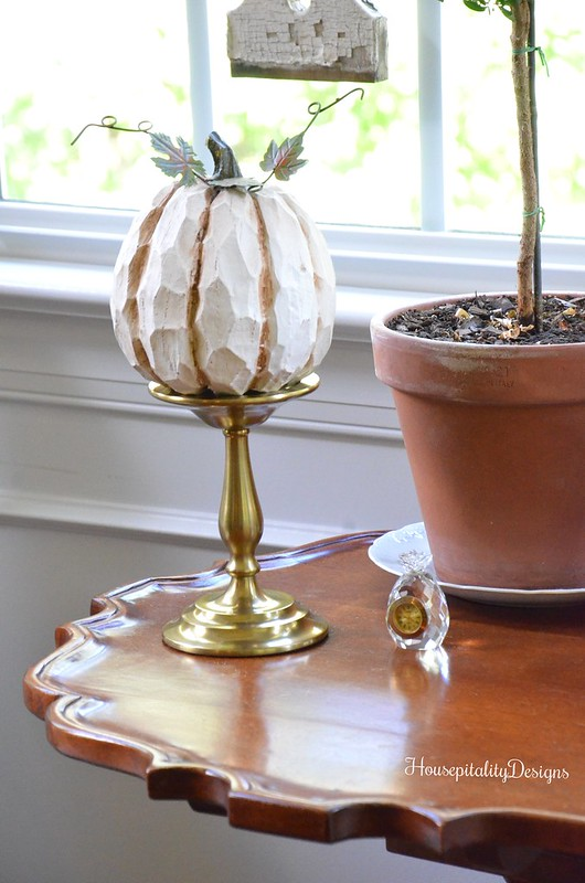 Wood Carved Pumpkin - Pottery Barn Brass Candlestick - Housepitality Designs