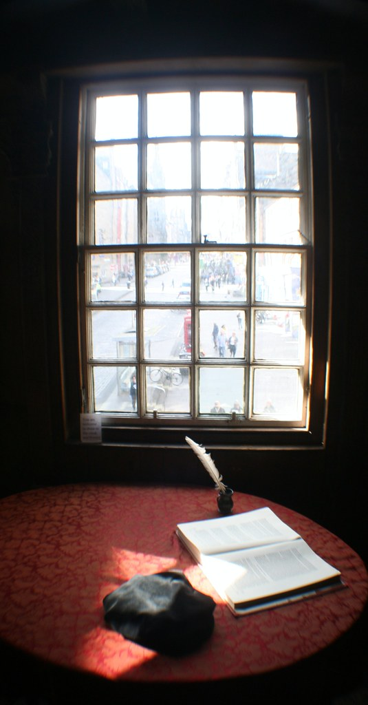 View of Royal Mile through window at John Knox House, Edinburgh.