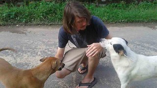 Kyle with local dogs