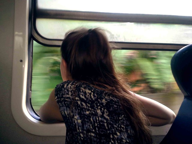 Briana Looking Out Train Window