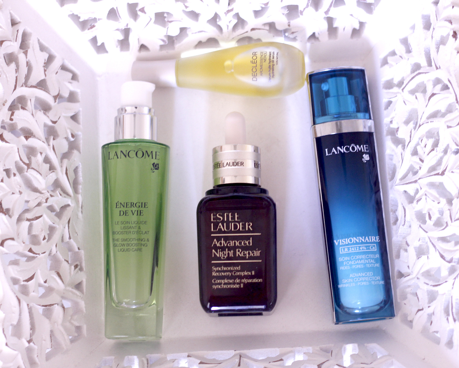 Beauty products serums Lancôme estee Lauder Declêor 02