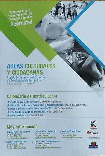 Folleto Programa aulas cumturales y ciudadanas 2016 - 2017