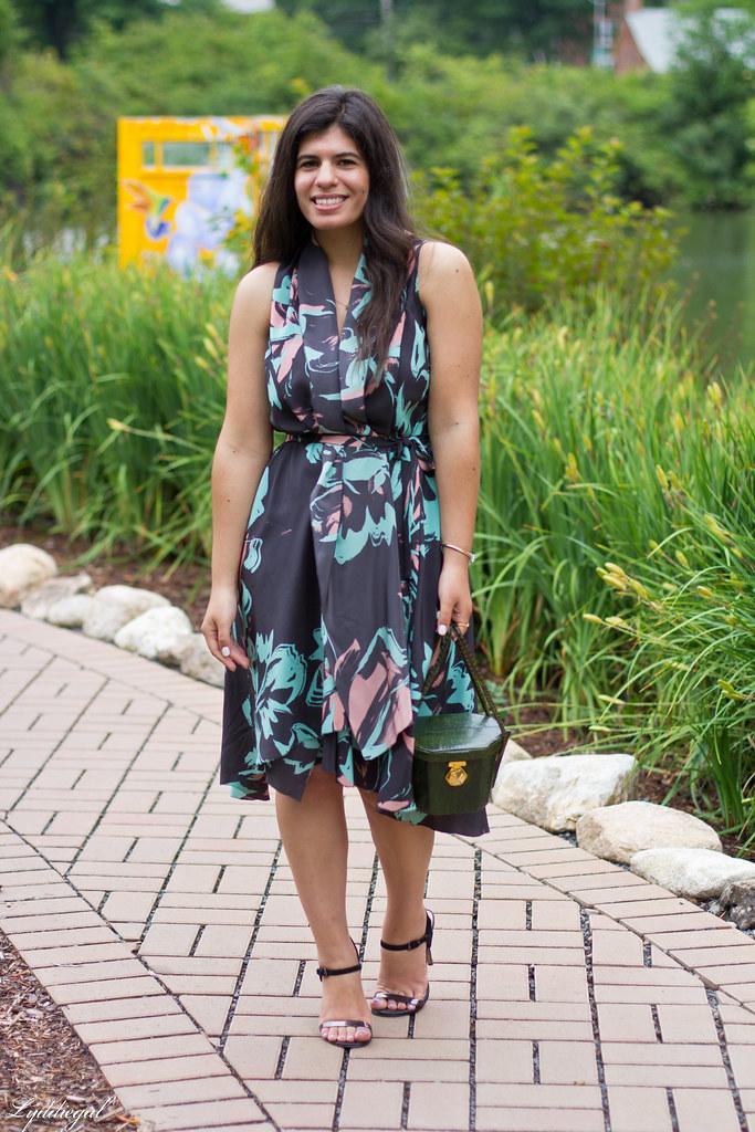 Silk floral print dress, vintage box handbag, black sandals-4.jpg