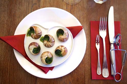 escargot with butter, garlic, and parsley. Le Comptoir de la Gastronomie, Paris, France