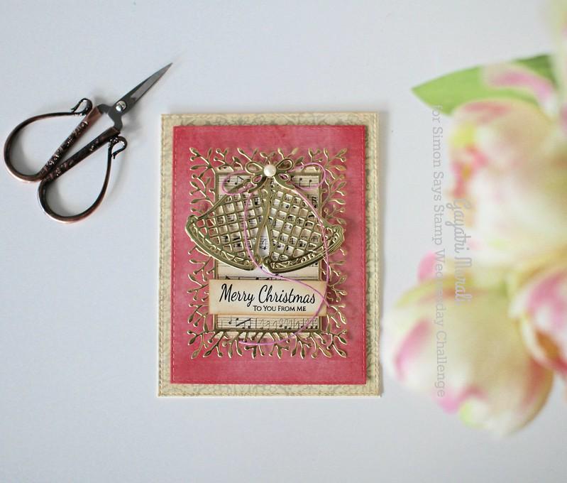 Pink Merry Christmas card flat
