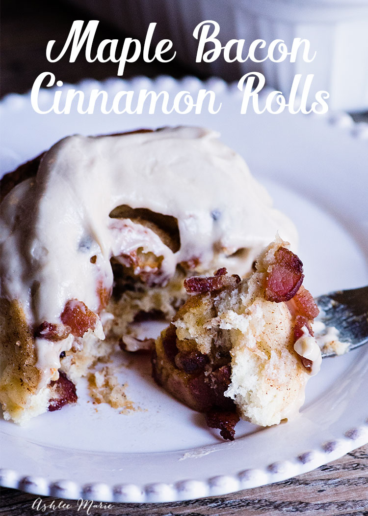 wanna dress up your cinnamon rolls? fill with chunks of thick bacon and top with maple cream cheese frosting - the perfect breakfast food