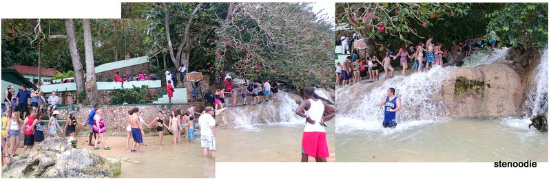 Dunn's River Falls people holding hands