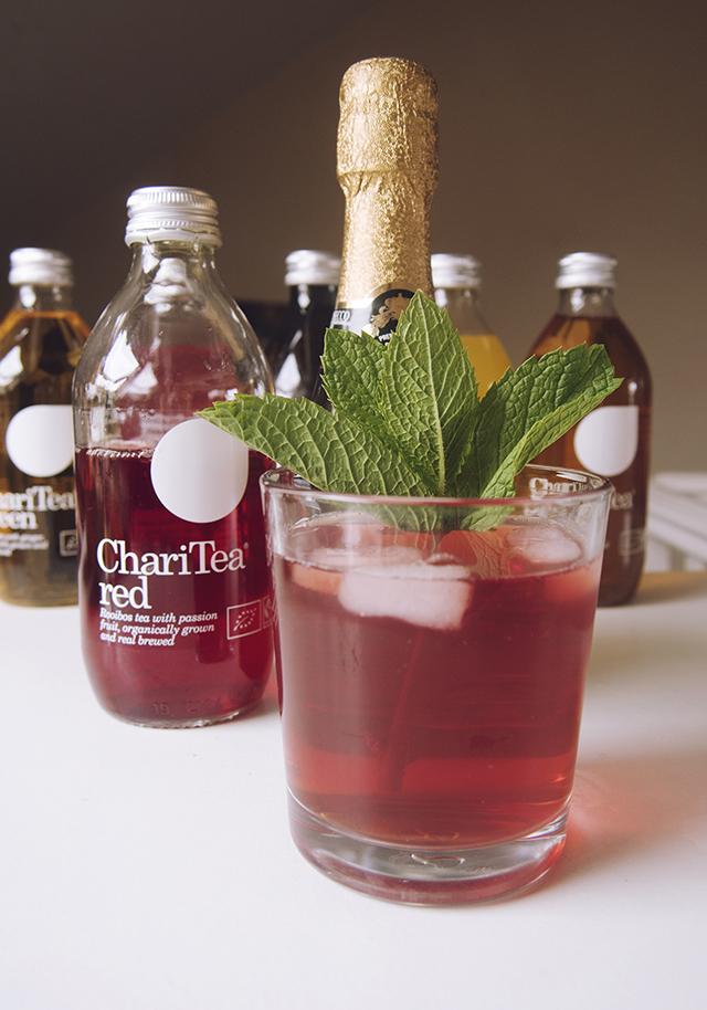 Champagne Prosecco red tea cocktail
