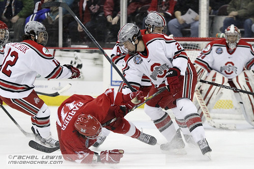 14 Dec 2012: Craig Dalrymple (OSU - 24), Riley Barber (Miami - 11)  The Miami RedHawks beat the Ohio State Buckeyes in a shootout at Value City Arena in Columbus, OH.  (Inside Hockey - Rachel Lewis) | by insidehockey