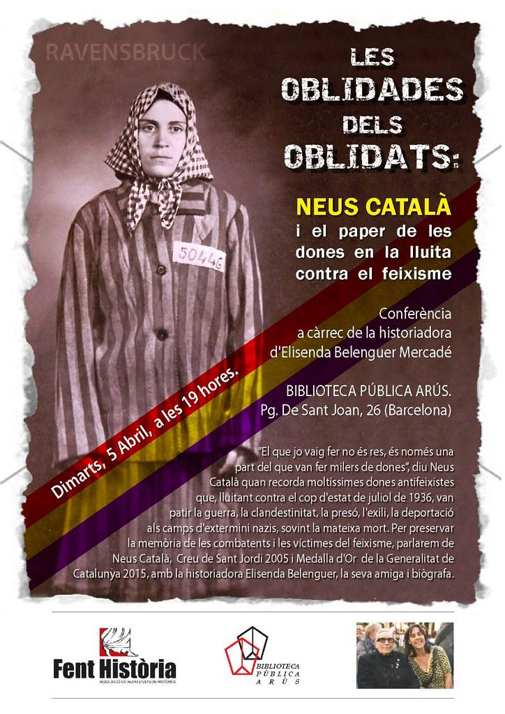 Cartell de l'acte Neus Català i el paper de les dones en la lluita contra el feixisme (Barcelona, 2016)