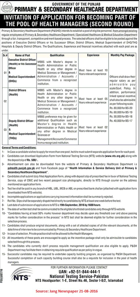 Primary and Secondary Healthcare Department Job