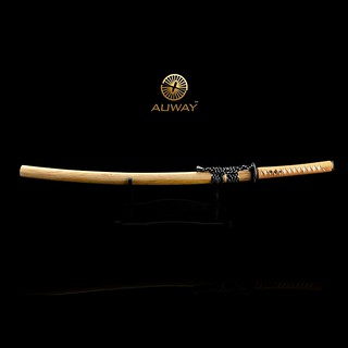 auway-samurai-sword-Rose-Tsuba-Wood-color-scabbard-2