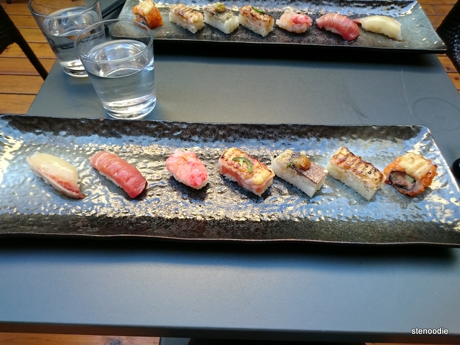 nigiri and aburi sushi