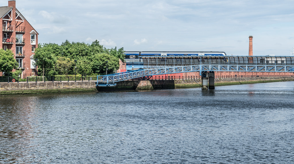 LAGAN RAILWAY PLUS PEDESTRIAN BRIDGE IN BELFAST [TWO FOR THE PRICE OF ONE]--121117