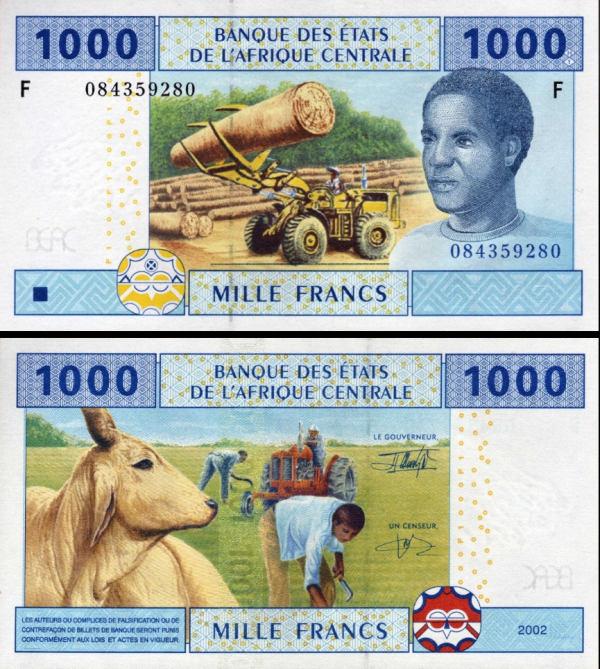 1000 Frankov Rovníková Guinea (Central African States) P507F 2002