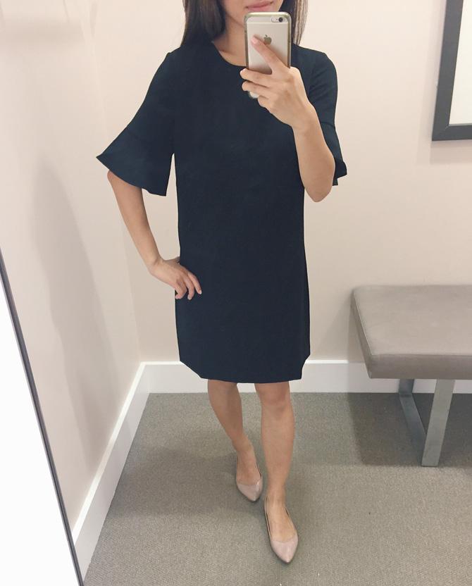 loft petites black ruffle sleeve dress