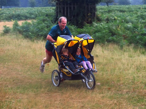 Mike Page running with his double buggy