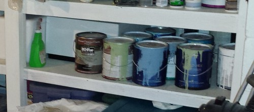 Basement Shelf With Paint Cans