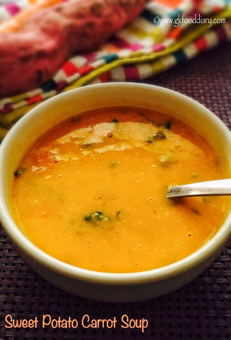 Sweet Potato Carrot Soup Recipe for Babies, Toddlers and Kids1