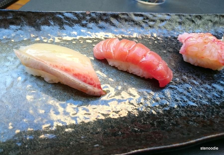 salmon oshizushi, lobster