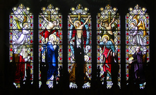 Crucifixion flanked by Blessed Virgin, St John, angels and Catherine and Fredrick Smith, donors