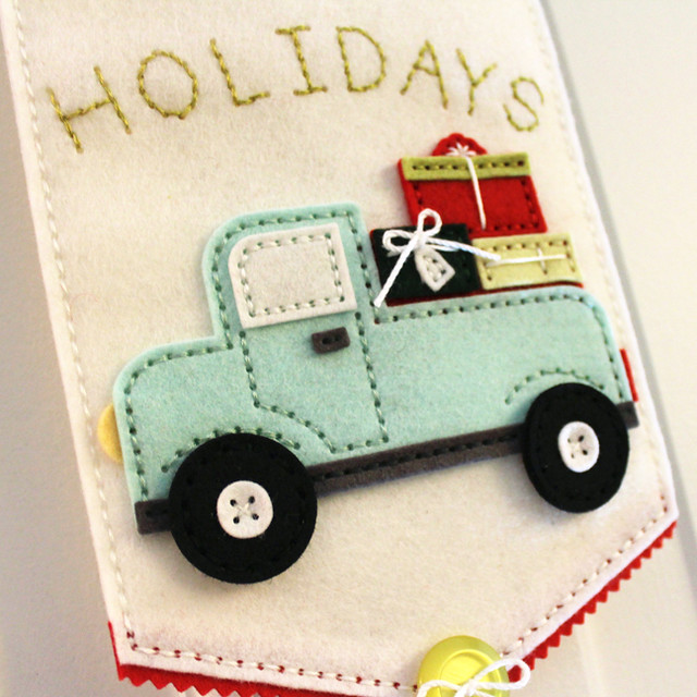 Happy Holidays Door Hanger - Truck Close Up