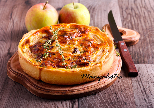 Brie and apple custard tart