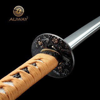 auway-samurai-sword-Rose-Tsuba-Wood-color-scabbard-4