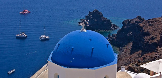 Oia blue domes, Santorini, Greece