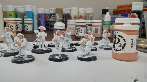 Going to try something different with the faces in this group. Eyes first, then shade/highlight around them. Starting with a base of P3 Midlund Flesh.