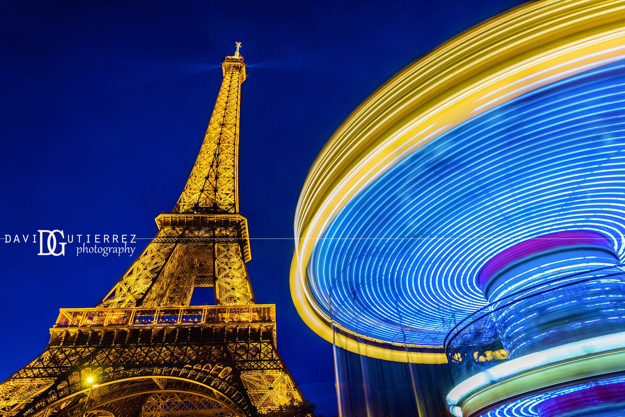Eiffel Tower and Carousel, Paris, France by David Gutierrez Photography, London Photographer