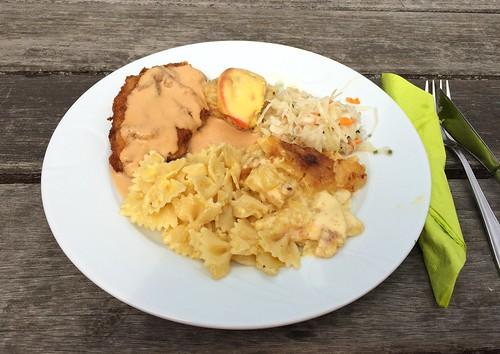 Schnitzel, Hähnchen, Farfalle, Kartoffelgratin & Krautsalat