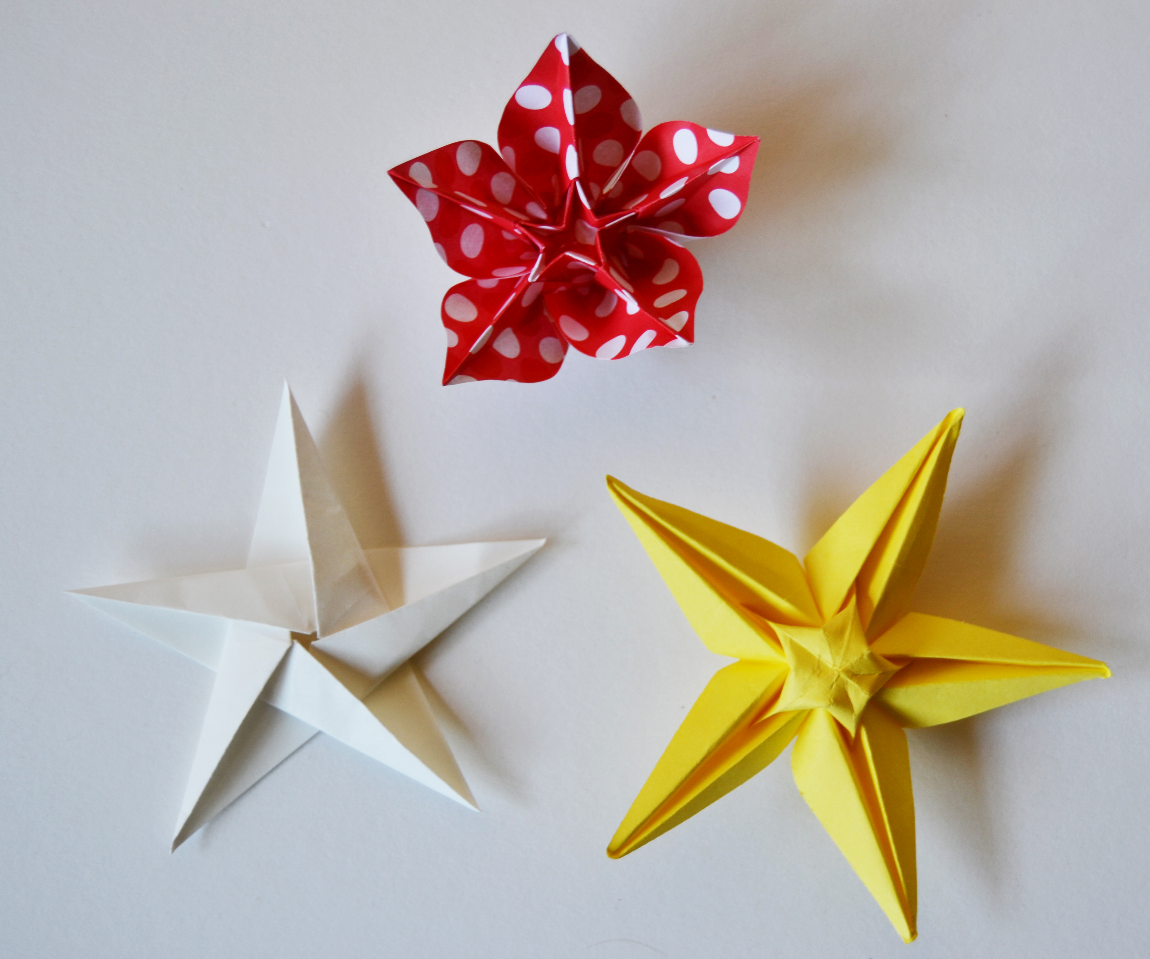 219,220 e 221-5 point origami star,carambola e star flower