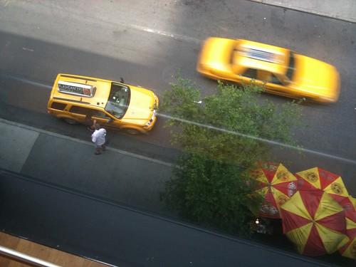Calles de Nueva York, Taxi & Hot Dog Cart. Jul2012