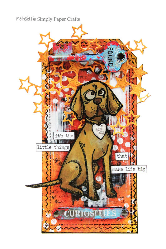 Meihsia Liu Simply Paper Crafts Mixed Media tag Tm Holtz Dog