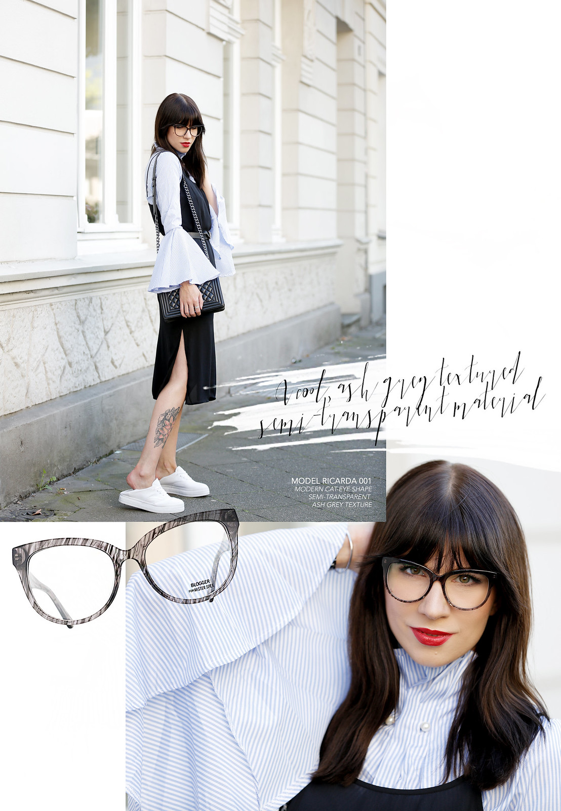 outfit slip dress wide sleeves stripes blogger for mister spex glasses brille brillenkollektion online shop design bangs brunette chanel boy sacha sneakers cats & dogs blog ricarda schernus modeblogger 4