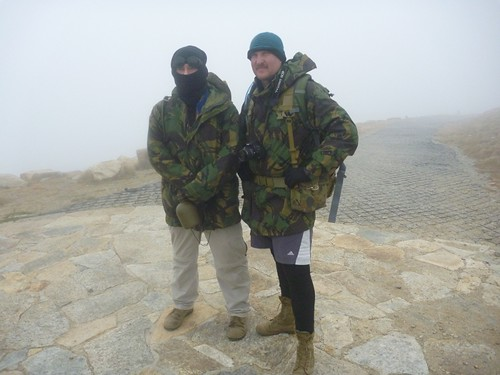 Happy snap: Myself and Moose freezing our proverbials off at the top of a hill, 2010.