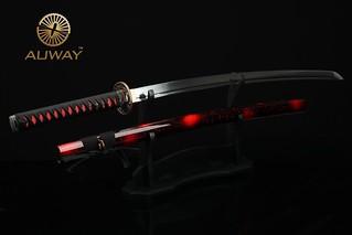 auway-samurai-sword-Orchid-Tsuba-Red-scabbard-4