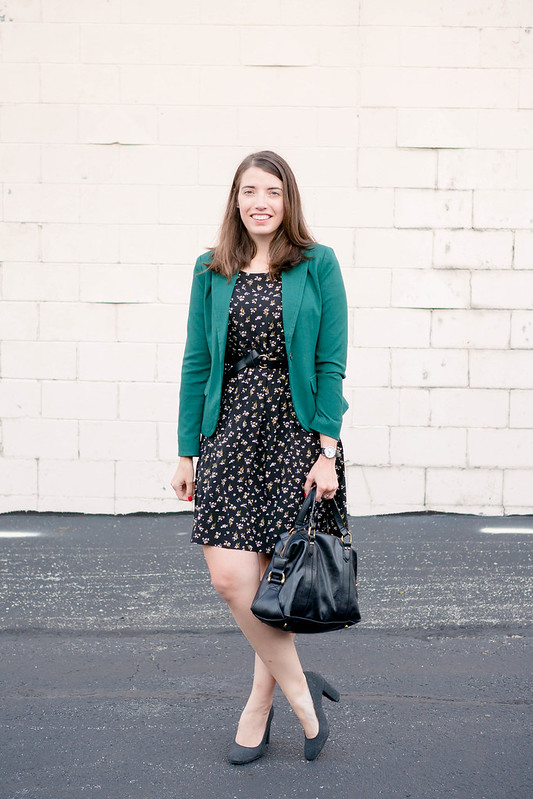 green blazer + black floral print dress + gray block heels + black knot belt + black purse | Style On Target blog
