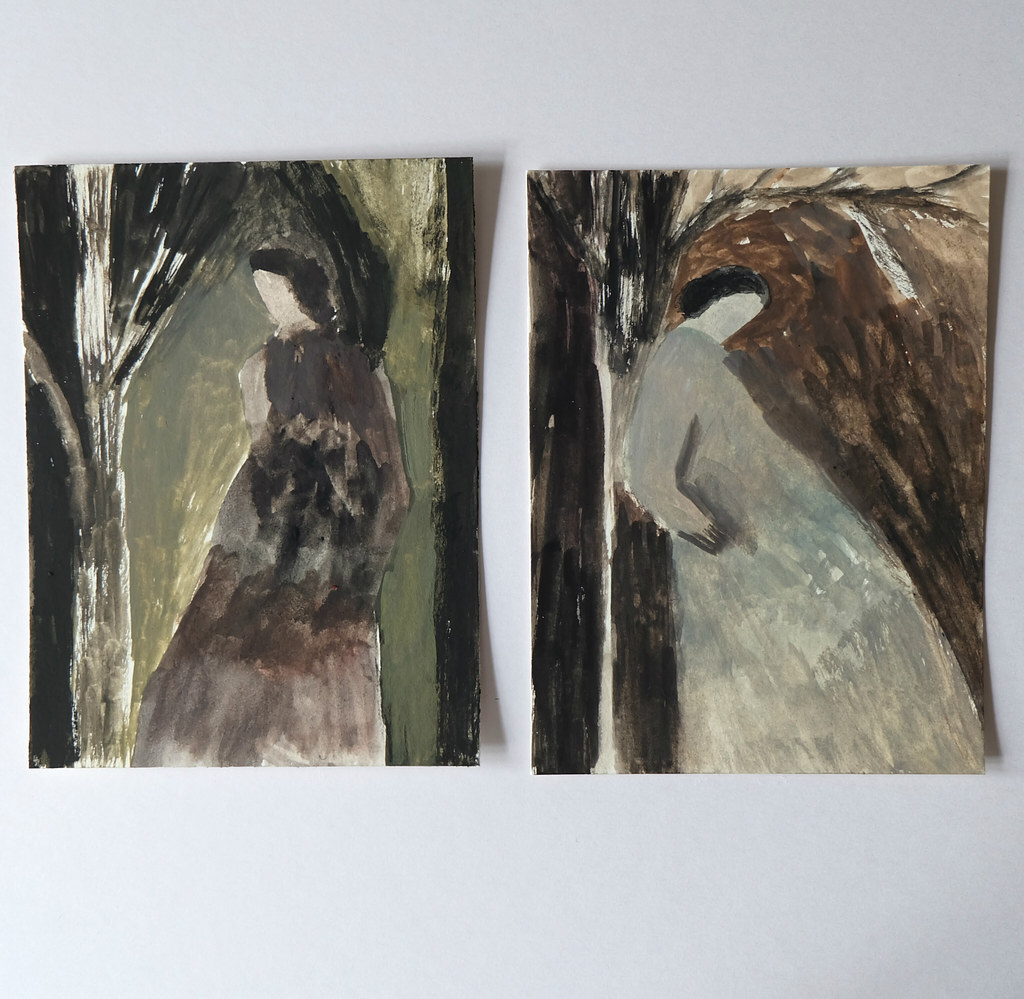 two smaller gouache works