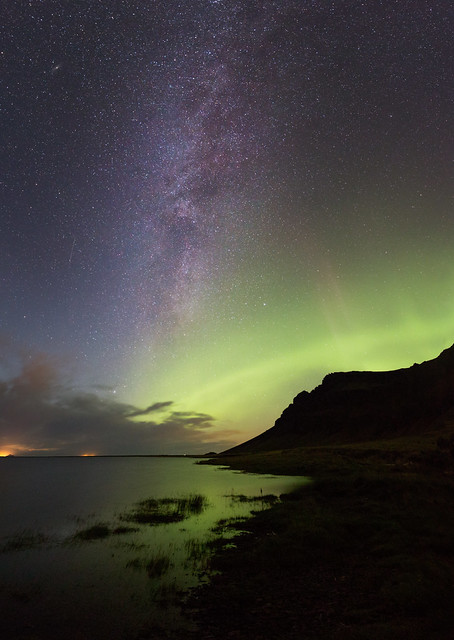 The Milky Way and Aurora at the South Coast, Iceland