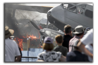 dH Dragon Rapide on fire at Duxford | by Roland Bogush