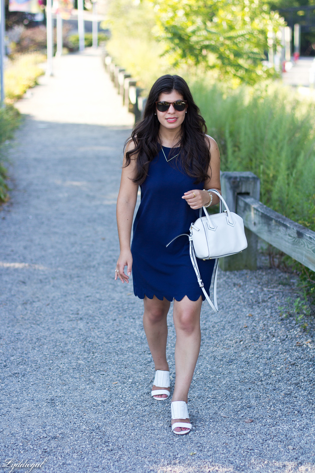 navy scalloped dress, rebecca minkoff bag and sandals-4.jpg