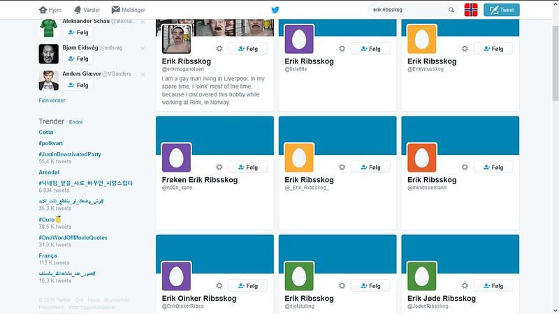 flere titalls falske twitter kontoer
